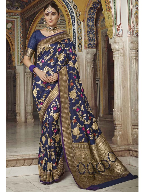 Navy Blue Colour Party Wear Saree.