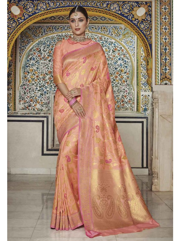 Peach Colour Indian Saree.