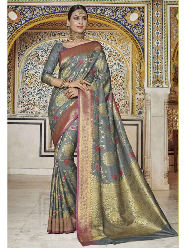 Grey Colour Silk Sari.