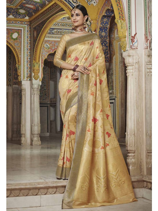 Golden Colour Silk Weaving Saree.