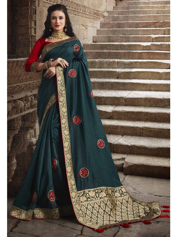 Dark Green Colour Dola Silk Saree.