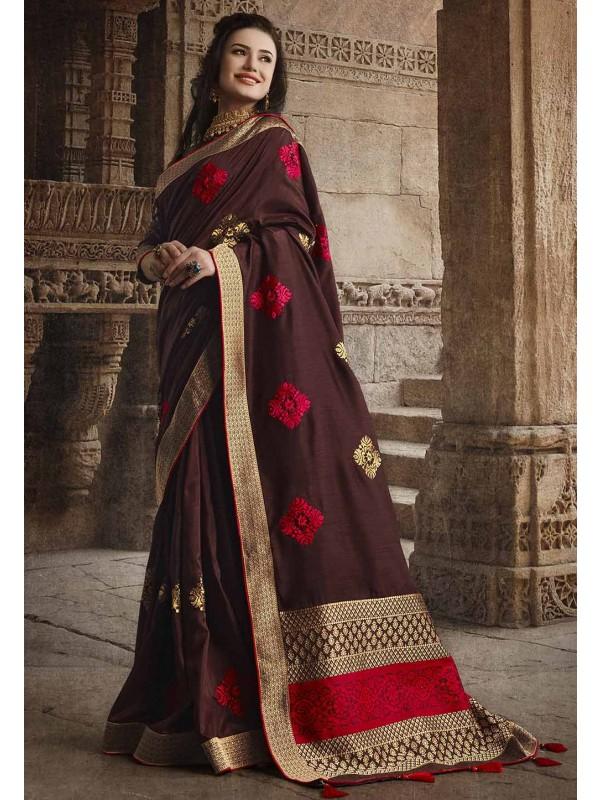 Brown Colour Silk Weaving Saree.