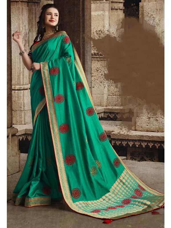 Dola Silk Designer Saree Sea Green Colour.
