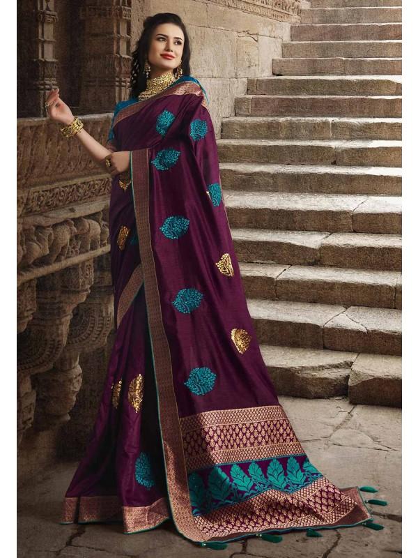 Dola Silk Party Wear Sari Wine Colour.