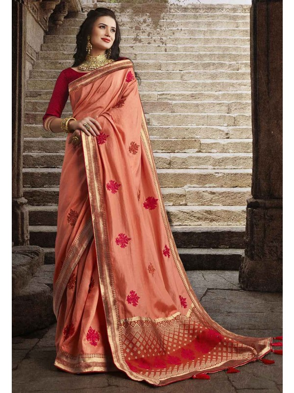 Peach Colour Silk Designer Saree.