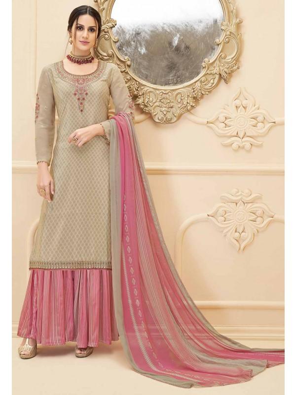 Party Wear Salwar Suit Beige Colour.