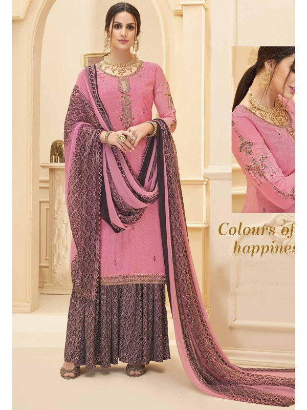 Sharara Salwar Suit Pink Colour.
