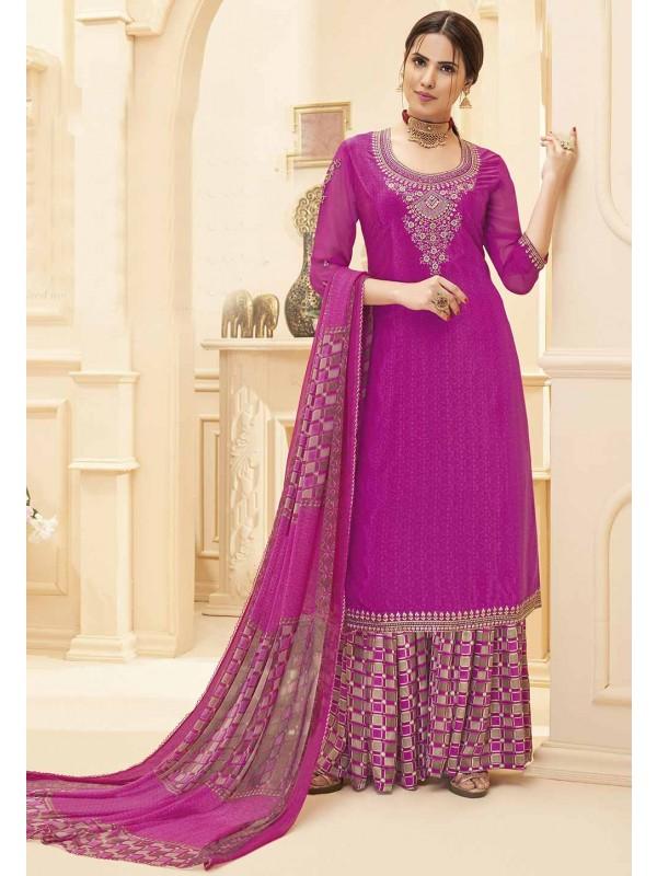 Rani Pink Colour Designer Salwar Kameez.