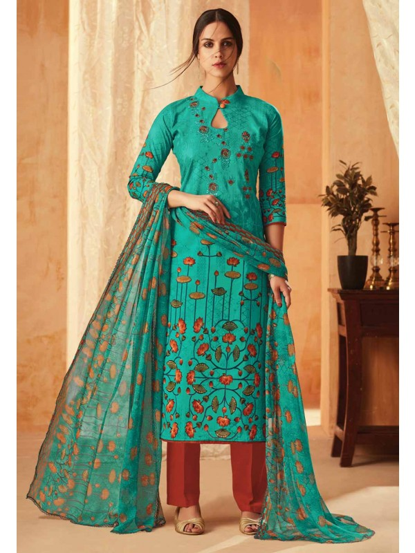 Sea Green Colour Cotton Salwar Suit.
