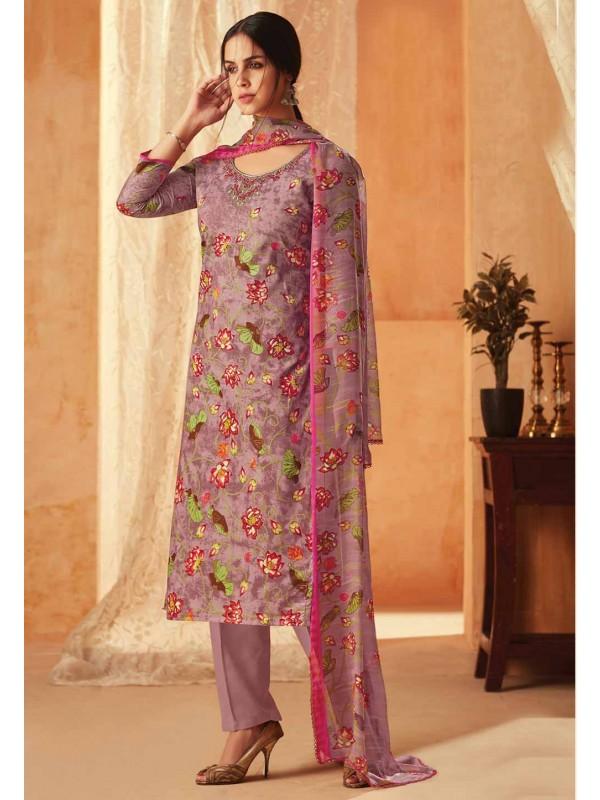 Purple Colour Flower Printed Salwar Kameez.