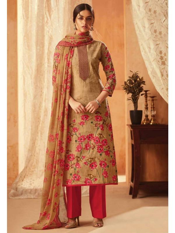 Beige Colour Cotton Salwar Kameez.