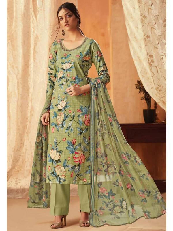 Pista Green Colour Printed Salwar Suit.
