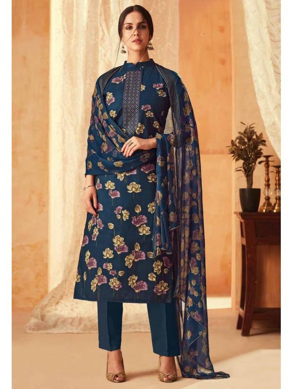 Navy Blue Colour Flower Print Salwar Suit.