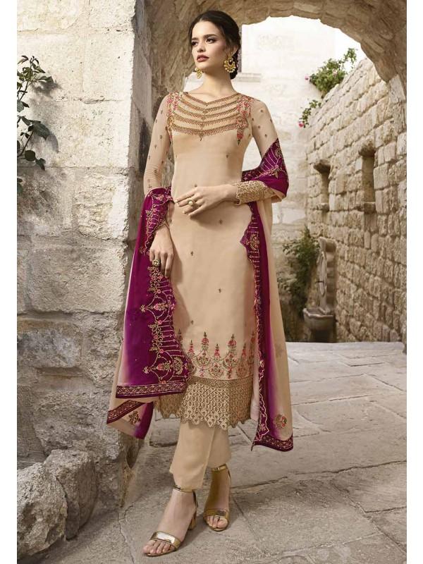 Cream Colour Women Salwar Kameez.