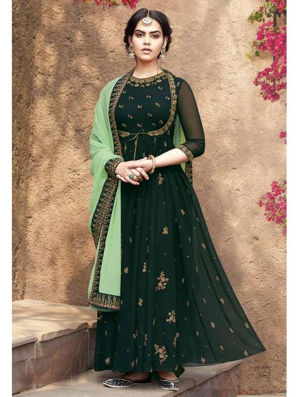 Anarkali Salwar Suit Forest Green Colour.