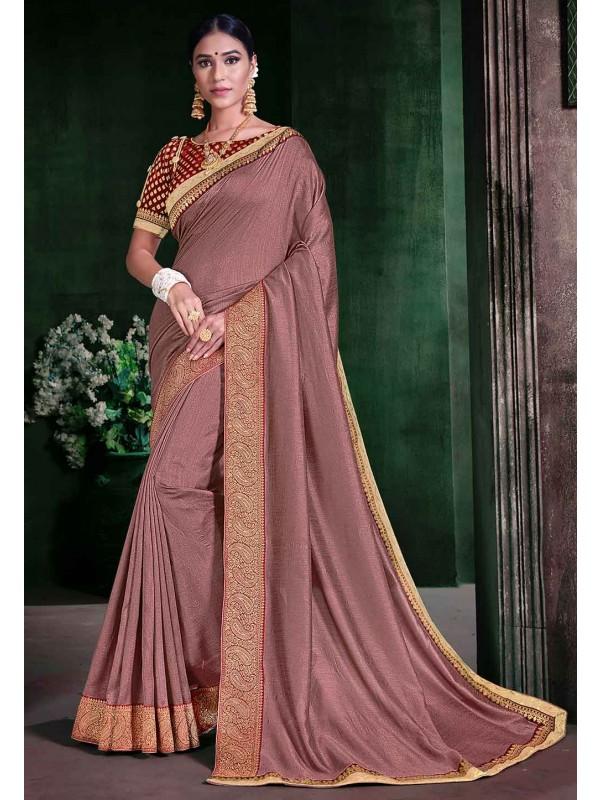 Rose Pink Colour Silk Saree.