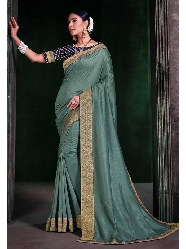 Sea Green Colour Casual Saree.