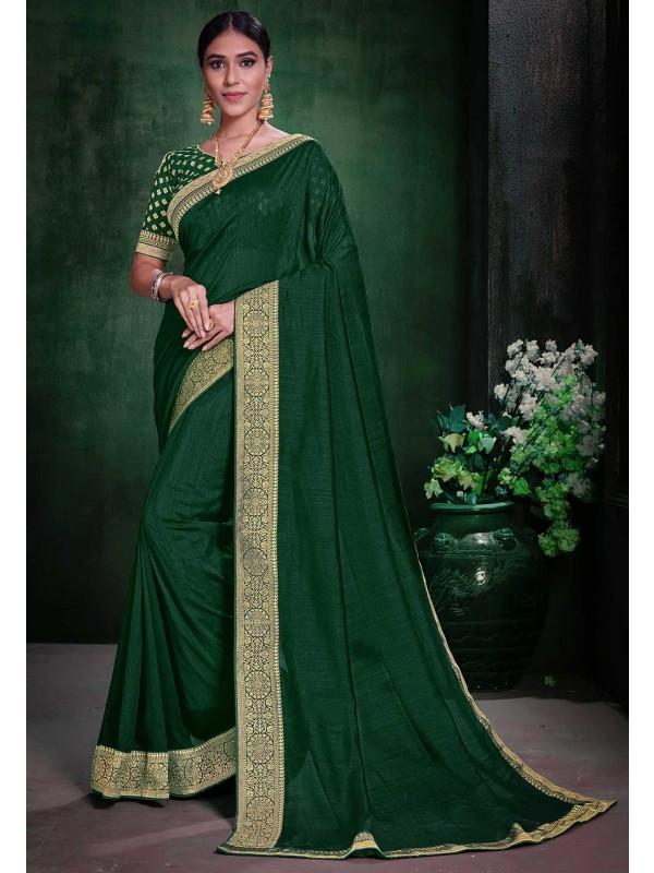 Weaving Saree Green Colour.