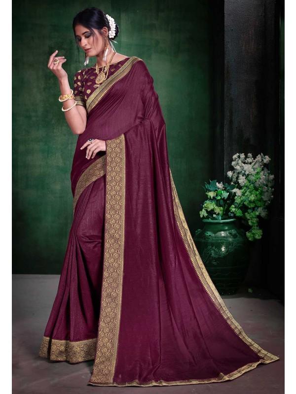 Wine Colour Party Wear Sari.