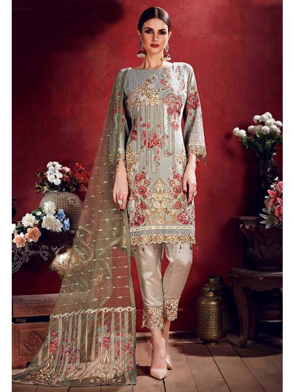 Grey Colour Designer Salwar Suit.