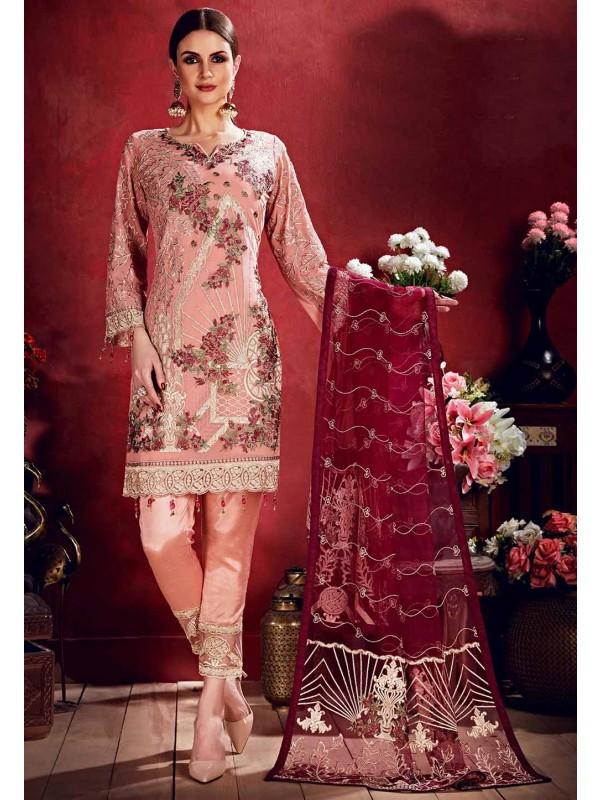Peach Colour Party Wear Salwar Kameez.
