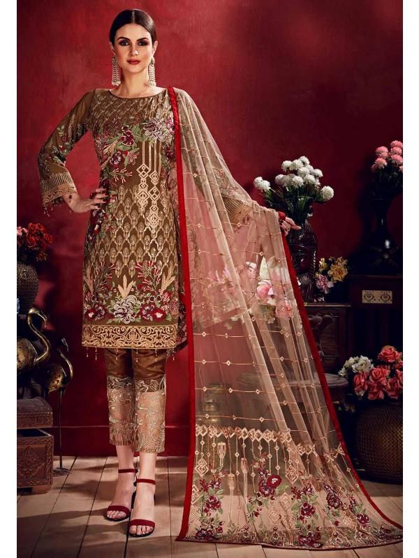 Brown Colour Georgette Salwar Suit.