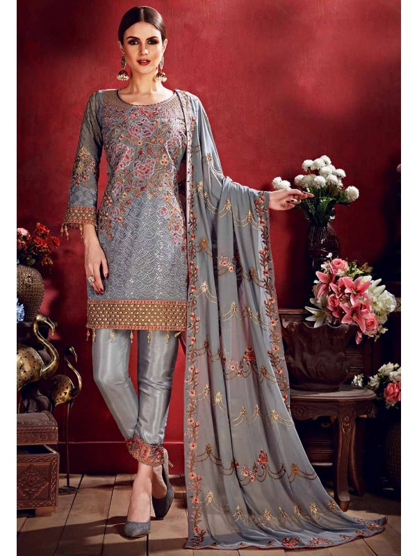 Designer Salwar Suit Grey Colour.