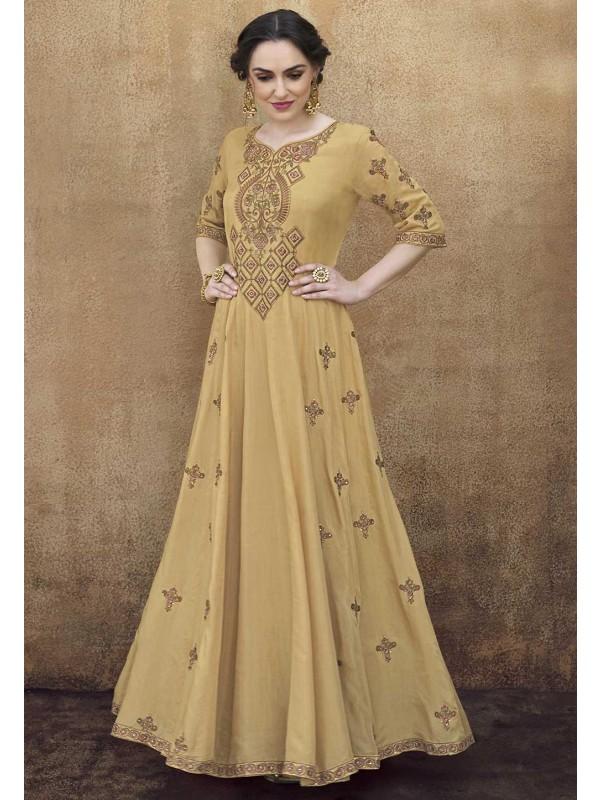Beige Colour Designer Gown.