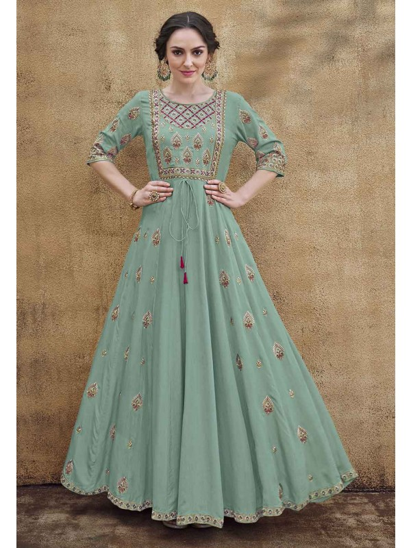 Sea Green Colour Readymade Gown.