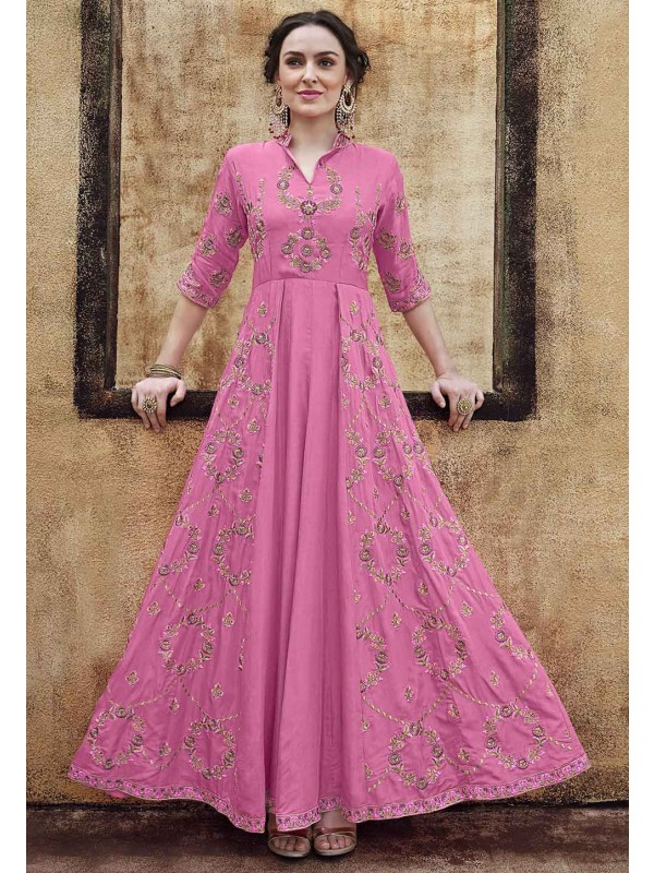 Pink Colour Women Indo western Gown.