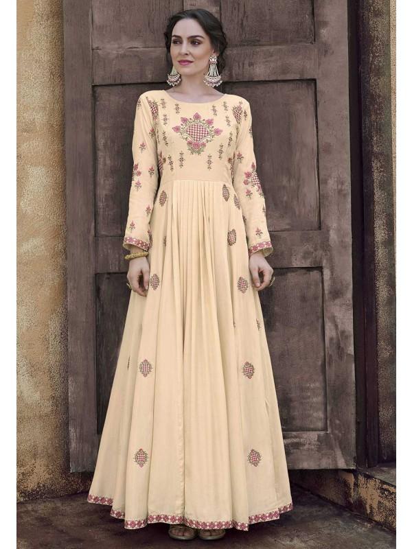 Cream Colour Silk Designer Gown.