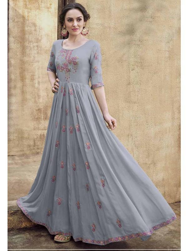Grey Colour Silk Gown.