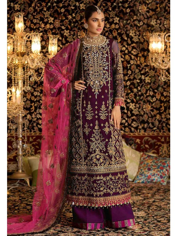 Party Wear Palazzo Suit Purple Colour.