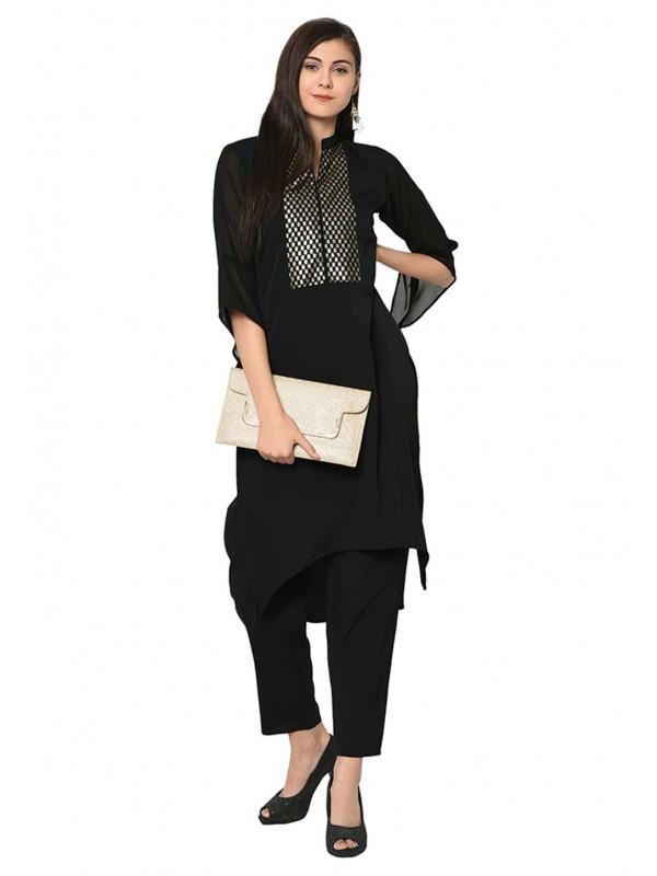 Black Colour Crepe Fabric Readymade Kurti.