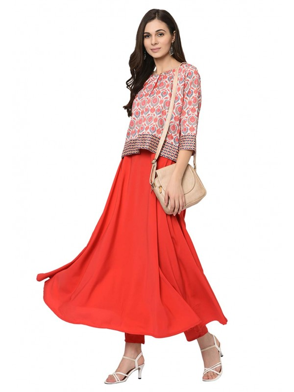 Red Colour Crepe Kurti.