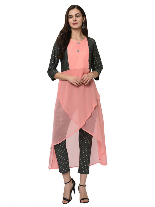 Peach Colour Georgette Kurti.