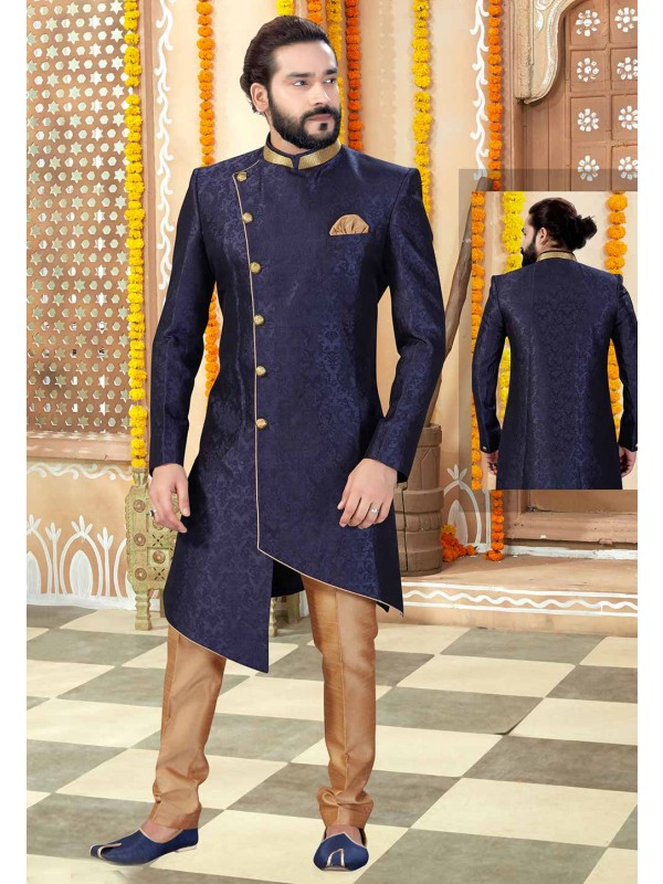 Navy Blue Colour Party Wear Men's Indowestern.