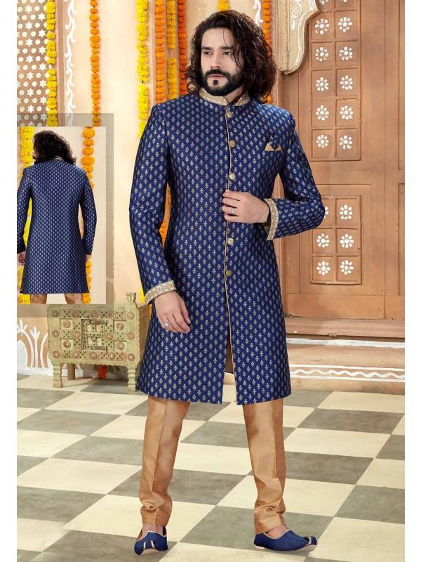 Men's Designer Indowestern Navy Blue Colour.