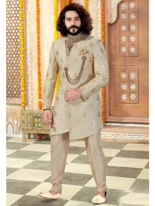 Cream Colour Indian Men's Sherwani.