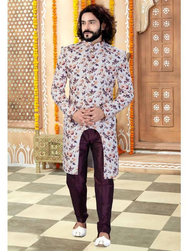 Off White,Wine Colour Men's Designer Indowestern.