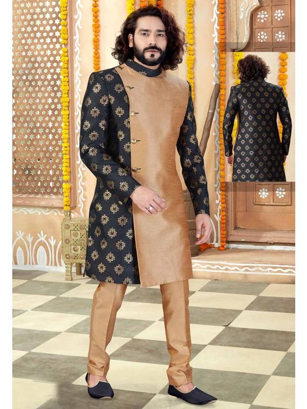 Men's Designer Indowestern Black,Beige Colour.