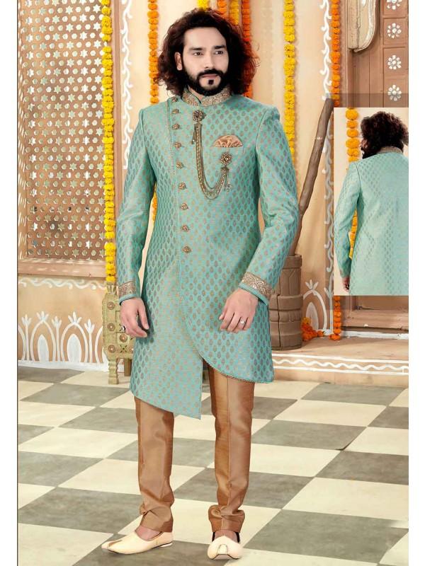 Pista Green Colour Wedding Sherwani.