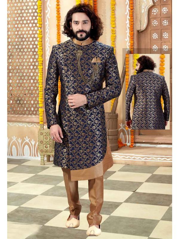 Navy Blue Colour Indian Designer Sherwani.