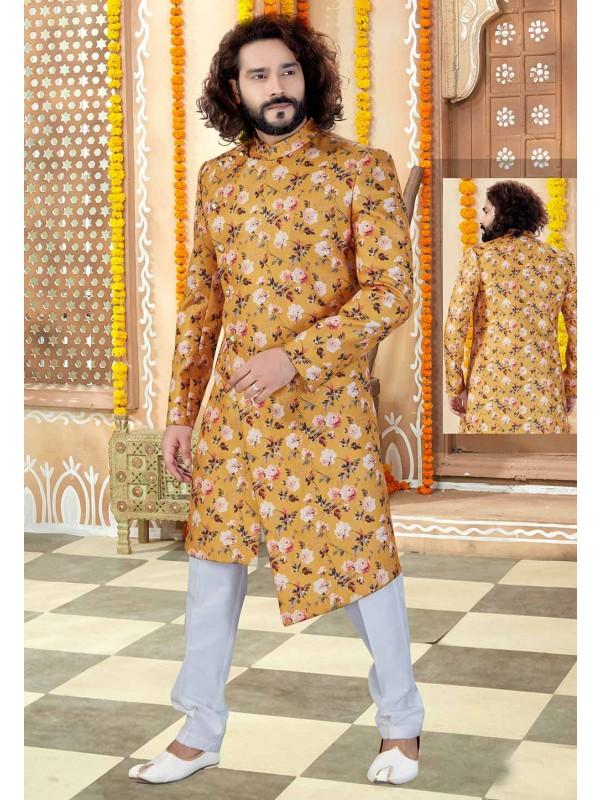 Yellow Colour Silk Men's Indowestern.