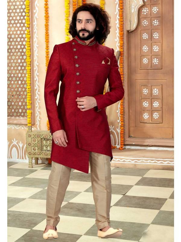 Maroon Colour Jacquard Fabric Engagement Wear For Men.