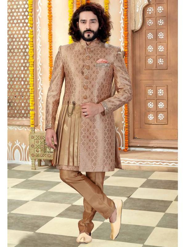 Beige,Peach Colour Men's Sherwani.