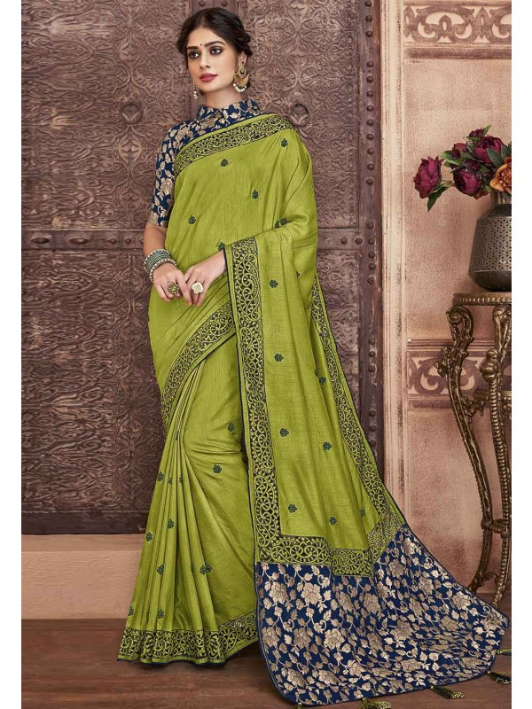 Green Colour Designer Silk Saree.