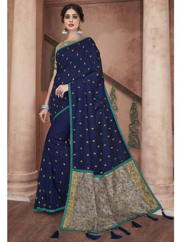 Party Wear Saree Blue Colour.