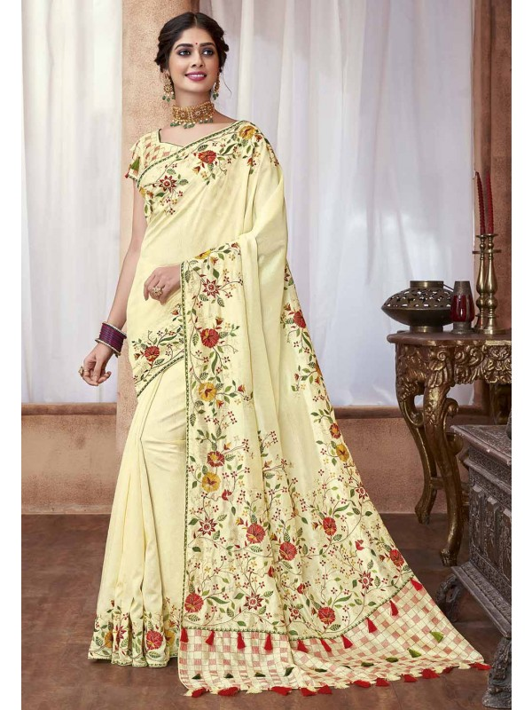 Cream Colour Embroidery Saree.