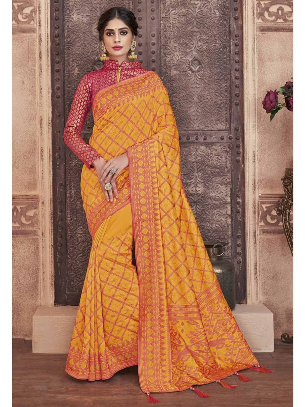 Orange Colour Silk Sari.
